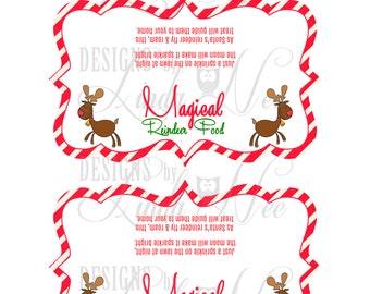 Magical reindeer food ziplock bag treat topper 6 25 inch printable
