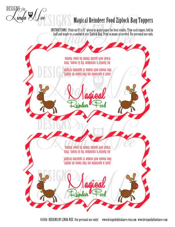 Magical Reindeer Food - Ziplock Bag Treat Topper 6.25 inch - Printable ...