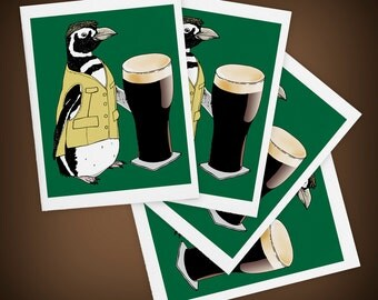 Beer Penguin, Bird, Ireland, Size A2 Blank Greeting Cards Set of FOUR, I'll Have a Pint