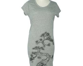 Eco Grey Japanese Pine Tree, Sumi-e Lakeside T-Shirt Dress, Screen Printed - Gifts for Her