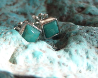 4mm Square Turquoise and Sterling Posts