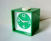1970s Vintage Alarm Clock - Bright Green Fun and Funky