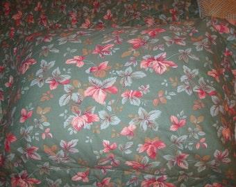 Vintage Laura Ashley Green Pink Leaf Pillow Sham Case Cottage Floral Girly Standard Size