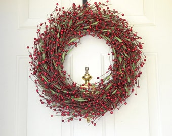 "Red Berry Christmas Wreath Large size wreath 20"" x  20"" Front Door Holiday Decor Merry Christmas Red Green Christmas wreath"