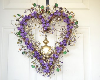 Valentines Day heart  wreath - purple roses - front door decor - Grapevine Heart wreath