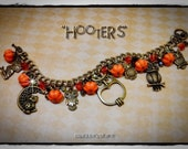 "Owl, Autumn,Halloween Bracelet, ""Hooters"" OOAK, handmade, Antique Bronze"