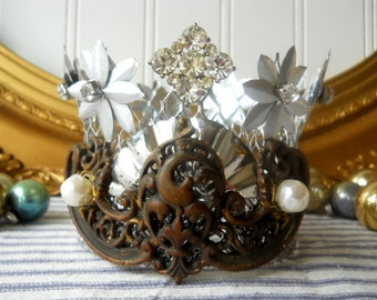 Handmade rhinestone and metal crown vintage santos style decor art crown upcycled Shabby Romantic Cottage Chic