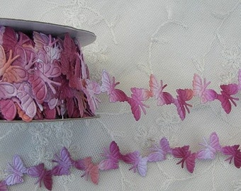 3yds Pink Raspberry Peach Ombre Butterfly Trim on a Vine Scrapbooking Card Making Bridal