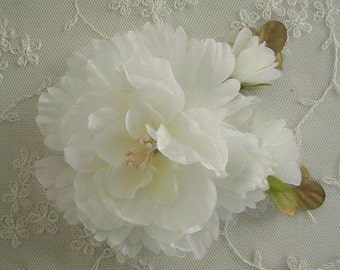 IVORY Organza Peony Rose Flower w Rose Bud Bridal Hair Accessory Pin