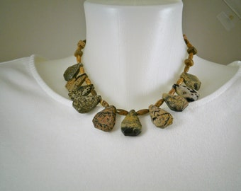 Fun and Funky Brown and Cream Jasper Choker Necklace