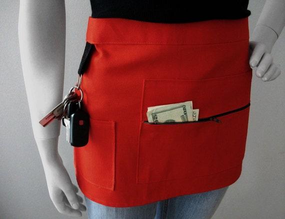 RED Vendor Apron - Unisex -  Canvas Waitress Apron - Hostess Apron
