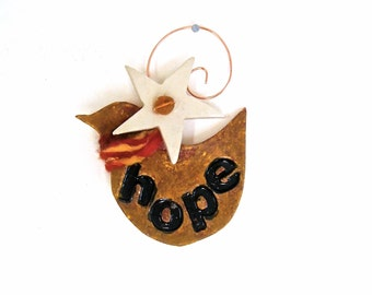 HOPE Mini Poetry Dove & Star Woodland Ornament, Christmas Tree Hanging - HandMade Red, Gold Scarf Inspirational Peace Bird Wall Decoration