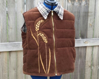 The Wheat Vest unisex quilted applique ski vest Lazy Mare Homegrown Original size Large