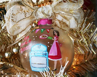THE COOKIE QUEEN personalized hand painted large glass holiday ornament