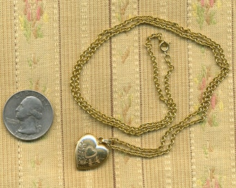 SALE SALE SALE 1940s 10k Gold Heart Locket and 14k Gold Chain