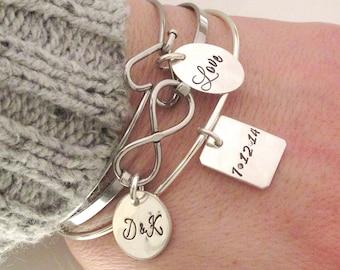 Love It Bracelet Set- Personalized Bracelets - Anniversary Gift - Infinity Bracelet - Save the Date Bracelets - Wedding Jewelry