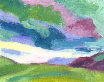 small landscape oil painting on canvas original Darkening Sky