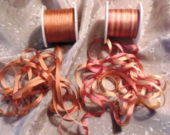 7mm  Rose Gold combo  6 yards silk ribbon 3 yards, each color