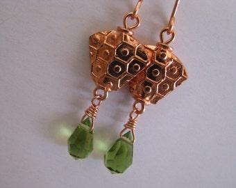 Copper Earrings, Olive Green Earrings, Moss Green Teardrops and Bright Copper Earrings