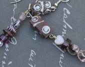 Handmade African Brown Recycled Krobo Rectangle Purple Mismatched Dangling Earrings
