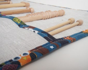 Owl Knitting Needle Case  - Linen with Cotton Trim - Gift for Knitter