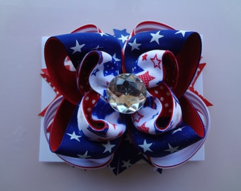 Red, White and Blue: Large -layered Boutique style hair bow barrette
