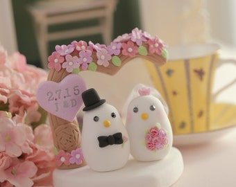 love birds with flower tree bride and groom wedding cake topper (K356)