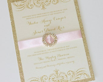 Glitter Wedding Invitation - Vintage Glam Wedding Invitation - Couture Invitation - Ivory, Pink and Gold Glitter - Thalia Sample