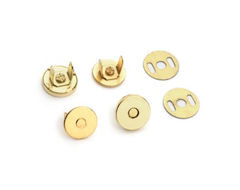 50 Sets Magnetic Purse Snaps - Closures 10mm Gold - Free Shipping (MAGNET SNAP MAG-102)