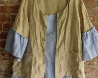 Linen Tunic/Deconstructed/Patched/Ruffled/Plus Size/Button Front/