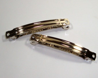 Set of Two Barrettes to Embellish, Silver Tone Metal  (927-14)