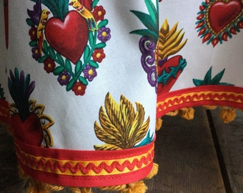 Mexican Sacred Heart Tablecloth Round Milagro White Red Gold Vintage Pompoms