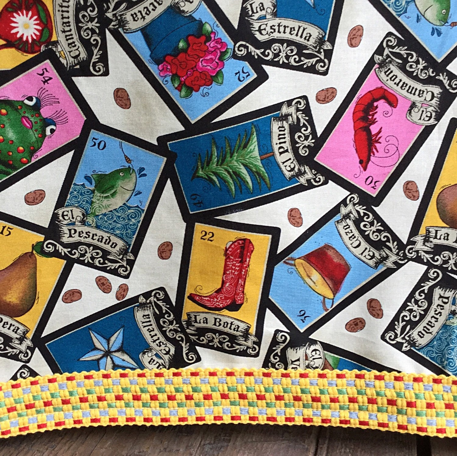 Cockerels Are Scattered All Over This Fabric Made From: Mexican Tablecloth Loteria Cards Vintage Woven Yellow Trim