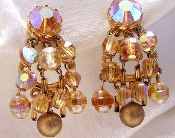 Vintage Amber Aurora Borealis Crystal and Rhinestone Dangle Clip On Earrings (J115)