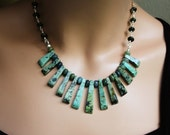 African Turquoise Necklace Earrings Set Aqua Green