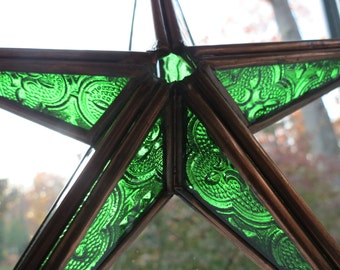 Vintage Copper and Stained Glass Dimensional Star Ornament Decoration Suncatcher