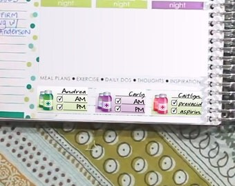 Medicine Tracker Stickers Printable - Rainbow - Instant Download - to fit your Erin Condren Weekly Boxes
