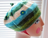 cool blue & green striped wool beret with polka dot embellishment