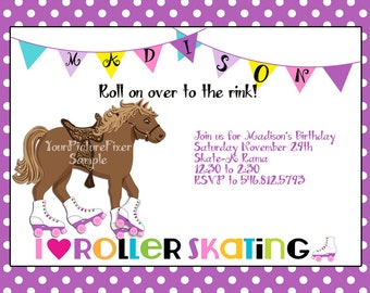 Rollerskating Birthday Invitation