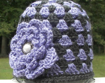 Purple and Charcoal Dark Gray Toddler Hat with Purple Flower - Granny Square Crochet - Toddler Size 1-2 - Ready to Ship - Cute Photo Prop