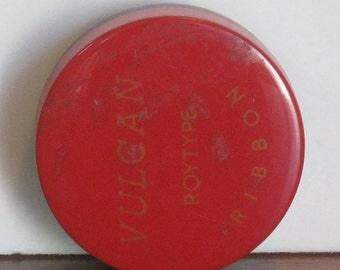 Vintage Vulcan Roytype Ribbon Tin with Black and Red Ribbon on Metal Spool
