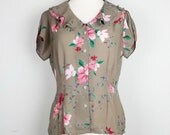 Ms. Martin Light Brown Floral Top Misses 8 S 1980s