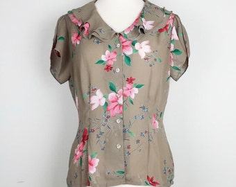 Vintage Light Brown Floral Top Blouse Misses 8 S 80s Ms Martin