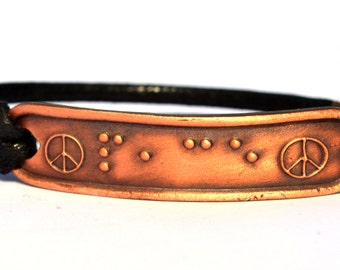 Peace Bracelet in Braille....Braille Bracelet....Jewelry in Braille... unisex