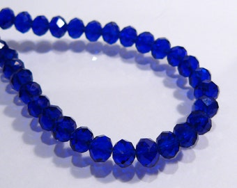 Cobalt  Blue Faceted Rondelle Glass Beads....12 Beads.....6x4mm