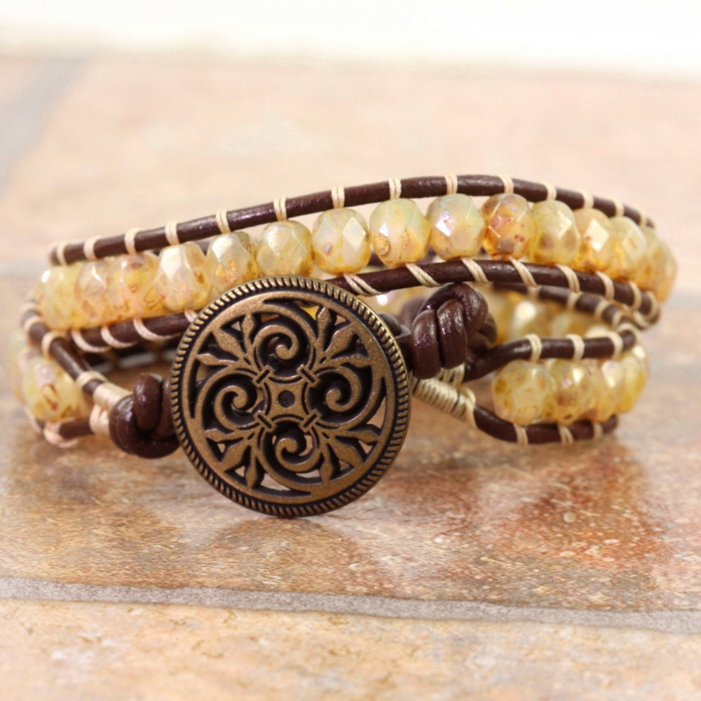 Leather Wrap Charm Bracelet: Brown Leather Wrap Bracelet Leather Jewelry Champagne Bracelet