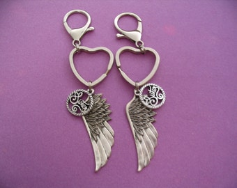 Sisters Angel Wing Key Chains Purse Charms Accessories Sisters Gift