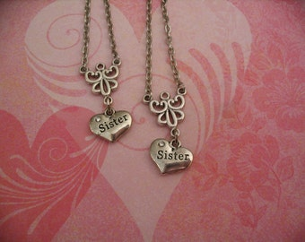 Sisters Heart Necklace Set Big Sister Little Sister Twins Gift