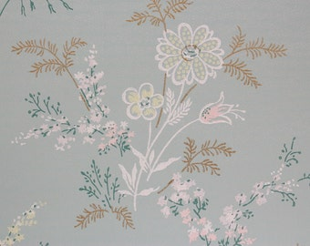 1940's Vintage Wallpaper Pink and Yellow Flowers on Blue