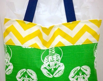 Beach bag, bridesmaids totes, beach tote, bags, large tote, lobster tote, navy tote, yellow chevron tote, yellow tote, bag, tote, purse